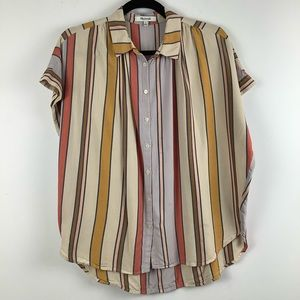 Madewell Striped Button Up Shirt in Multicolor